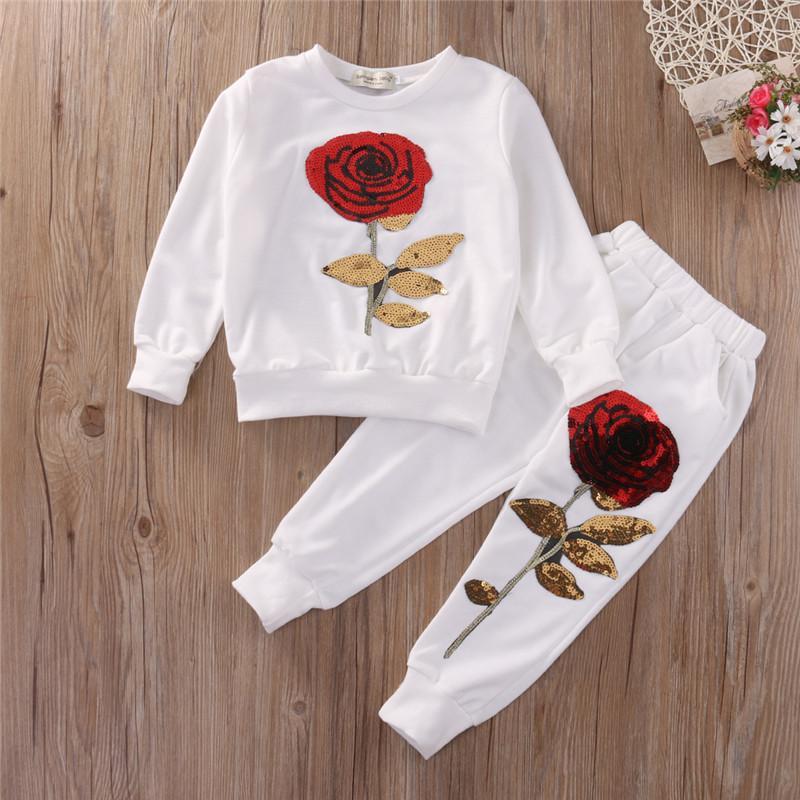 Kids Girl Clothes Designer Girls Tracksuit Boutique Kids Clothing Rose Sequin Print Hoodies Pant Toddler Girl Clothing Set 3-7Y Y1892707
