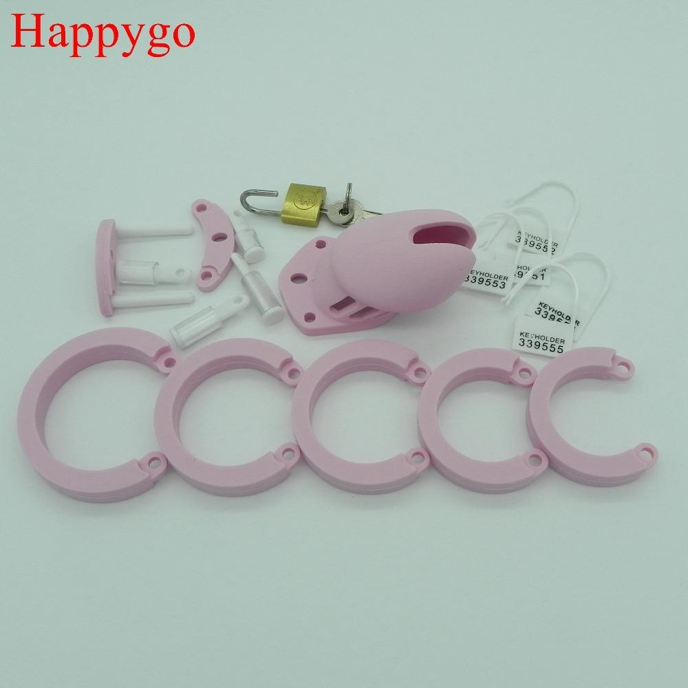 Anello maschio rosa y18110302 dispositivo per adulto cazzo gabbie da uomo verginità da uomo in silicone serratura in silicone giocattoli HappyGo, sesso di castità 5 603-PNK Penis spmxl