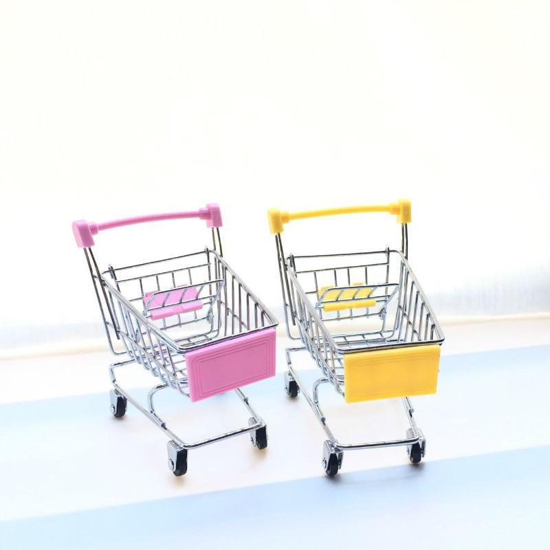 Mini cart craft ornaments small supermarket trolley metal model egg claw toy