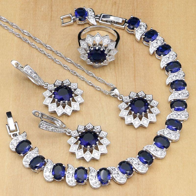 Set di gioielli in argento sterling 925 gioielli in argento zirconi blu per orecchini da donna / pendente / anelli / bracciale / collana