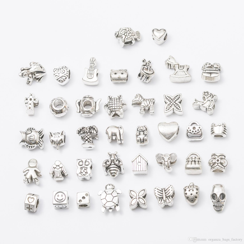 MISTURA 40 estilos de Jóias Tibet Grânulos de crânio de Prata encantos Para Pulseira Europeia Mix Lot Atacado