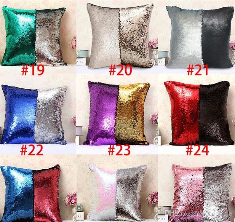 Mermaid sequins Yastık kılıfları DIY Iki Ton Glitter Pul Yastık Kılıfı Kapakları Sihirli Geri Dönüşümlü Pillowslip Kanepe 31 renkler