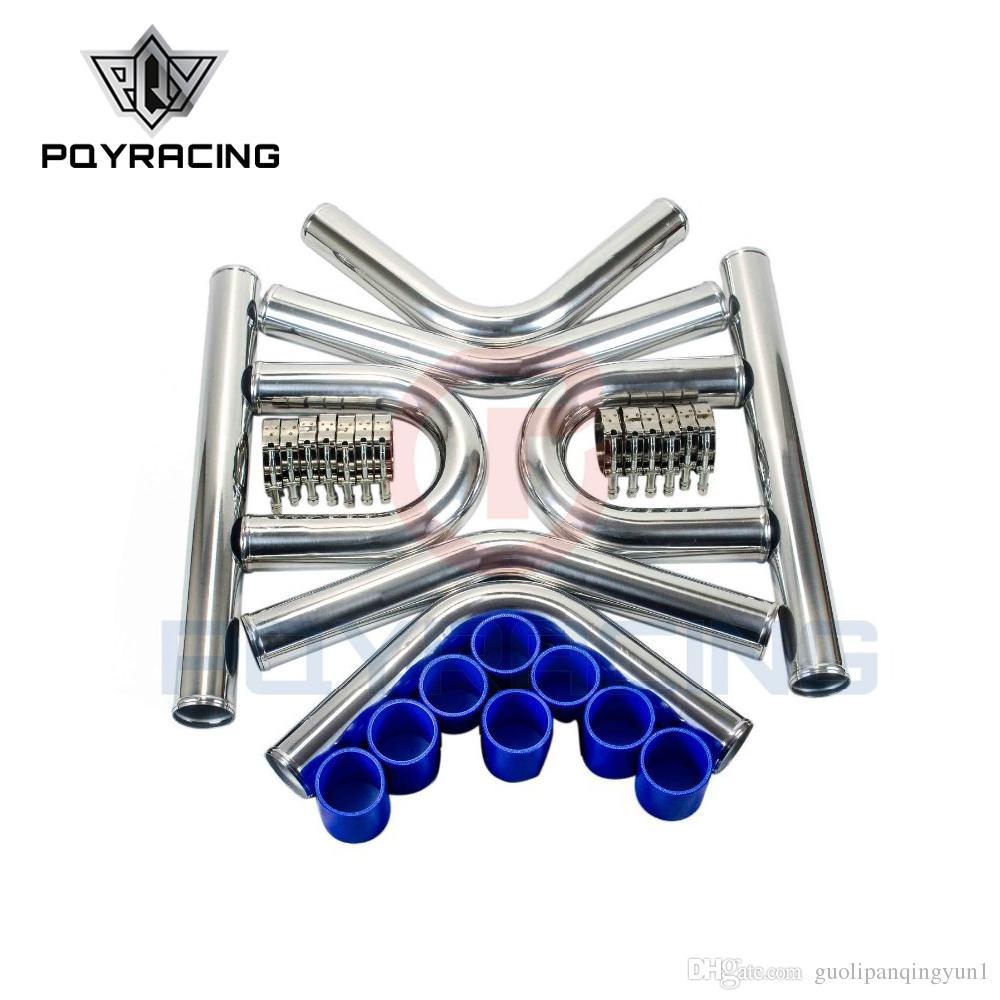 "90 degree 76mm 3/"" Aluminum Turbo Intercooler tube Pipe silicon hose+clamp RD"