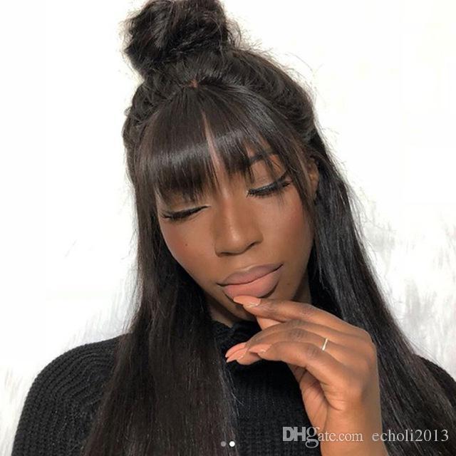 360 Peruk Ön Koparıp Işık Yaki Düz 360 Dantel Siyah Kadınlar için Frontal Peruk 150% Yoğunluk Brezilyalı Remy İnsan saç peruk ile patlama