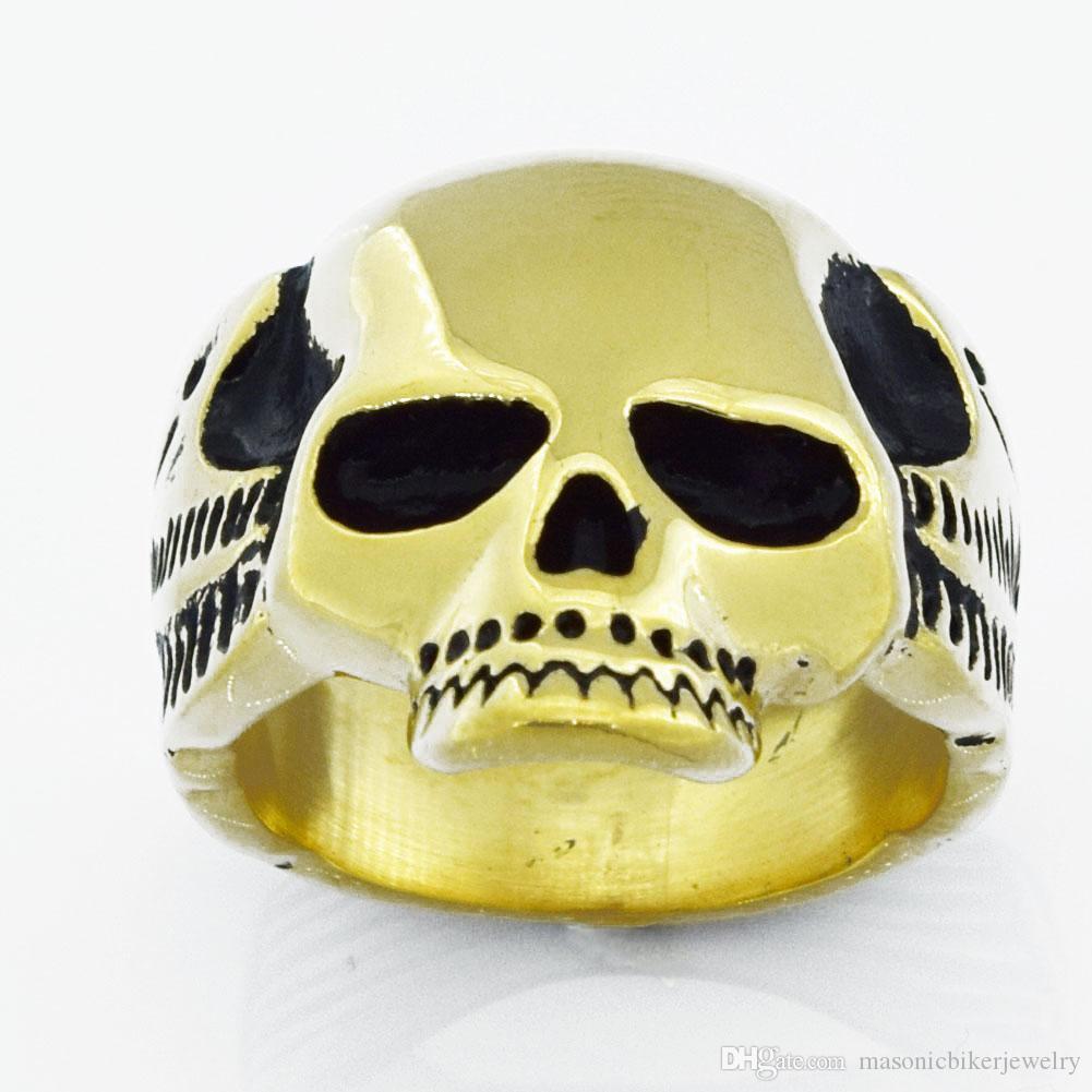 Fanssteel Acciaio inox Punk Vintage Mens Donne Gioielli Ghost Skull Signet Anello Medaglione Anello Biker Anello FSR08W47G