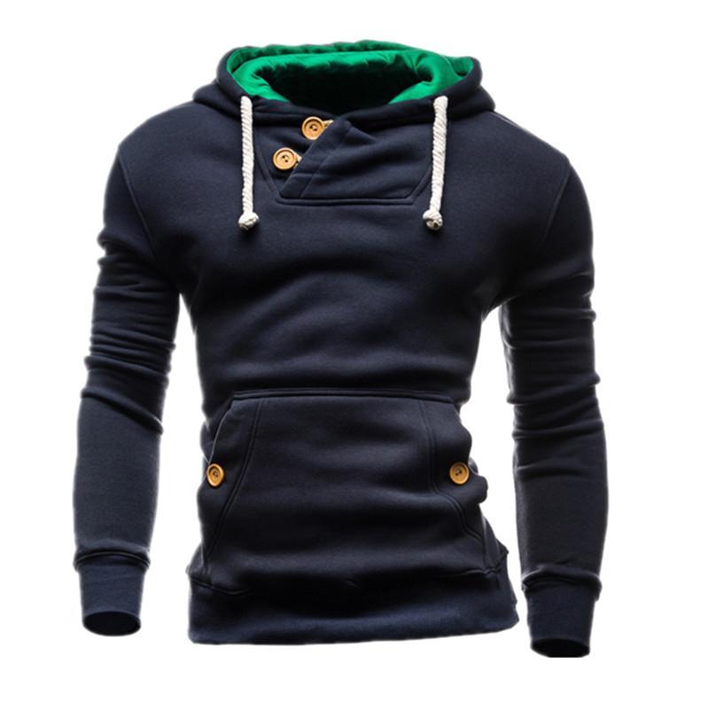 Men Brand Hoodie Decorative Buttons Fashion Hip Hop Mens Hoodies Autumn Winter Pullover Male Sportswear O-Neck Sweatshirts