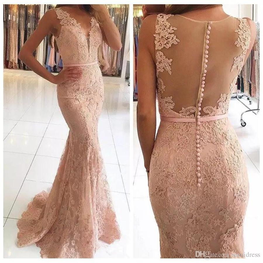 Sheer Voltar Lace apliques de contas Prom Dress Sexy Illusion Voltar vestidos de noite formal vestido Vestidos De Fiesta