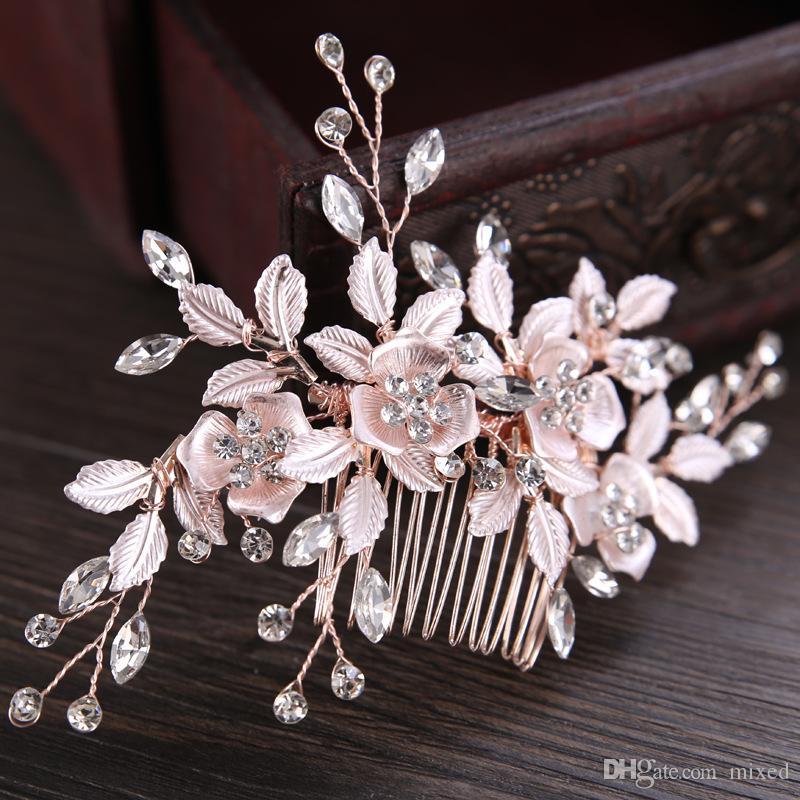 Металл Кристалл волос гребень листьев свадебные украшения для волос свадебный головной убор невесты аксессуары для волос женщины невесты головной убор