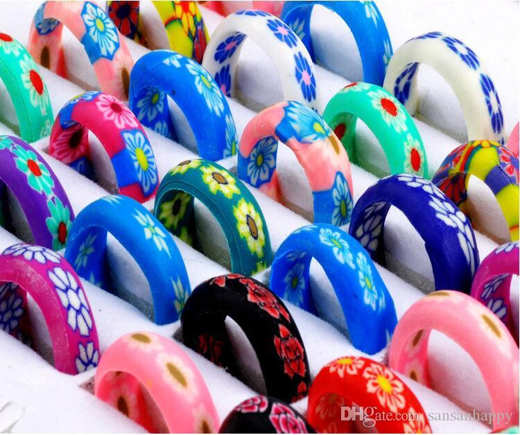 wholesale Lot 300Pcs Mix bright Color Thin Polymer Clay gift Rings