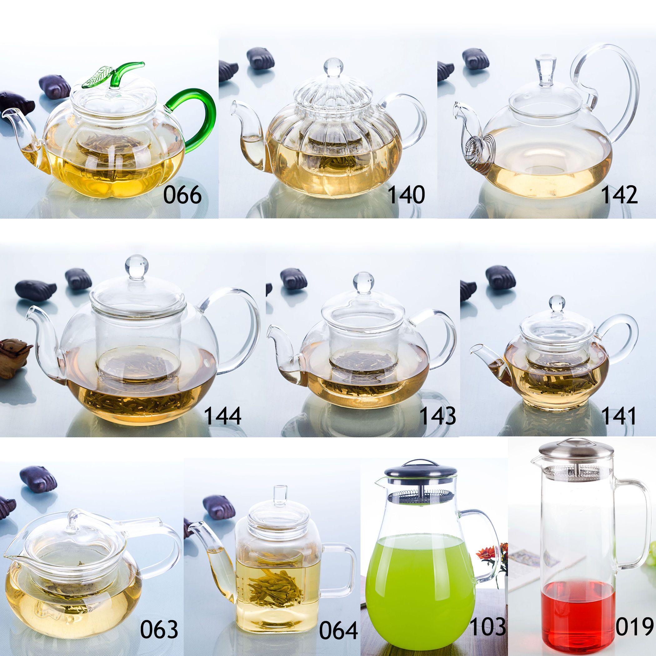 1pc Uma variedade de formas Handmade Tea pot resistente ao calor vidro transparente flor Bule com tampa transporte da gota