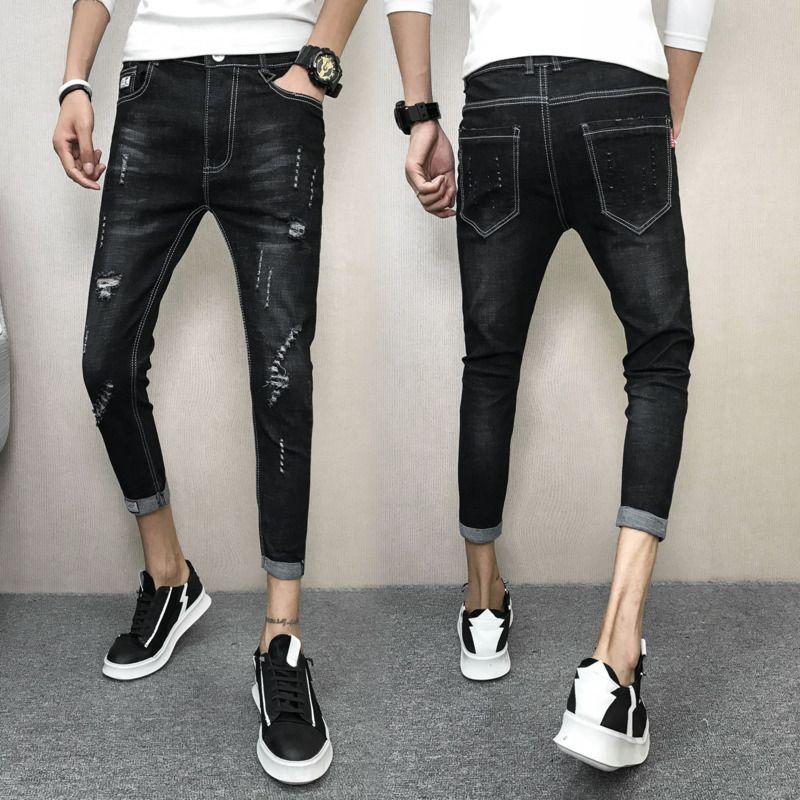 2018 Printemps Et Été New Hommes Simple Couleur Unie Slim Pantalon Personnalité Mode Business Jeans Jeunesse Tempérament Rue