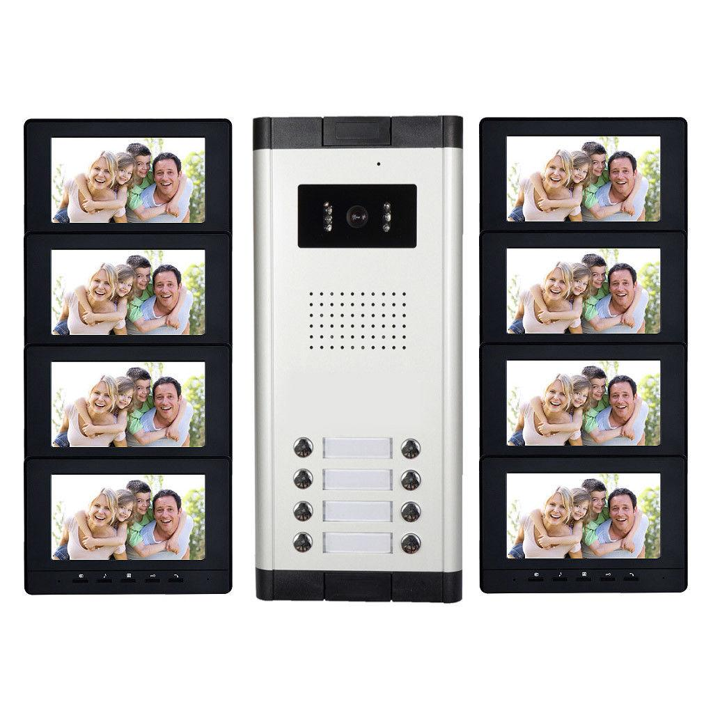 """Sistema de intercomunicación de 8 unidades en el apartamento Sistema de intercomunicación con timbre de video Monitor de 7 """"para el sistema de intercomunicación de video con video de los apartamentos"""