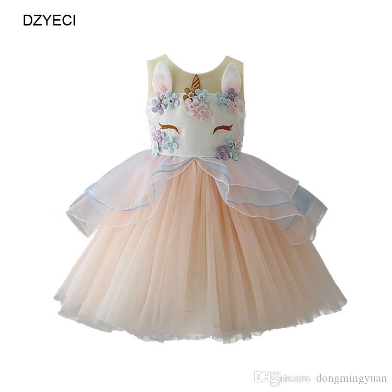 UK Kid Baby Girls Cartoon Unicorn Summer Floral Party Pageant Tutu Dress Clothes