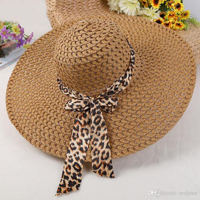 Cappello da donna New Beach Cappello Lady Derby Cappuccio ampio a tesa larga Floppy Fold Summer Bohemia Sun