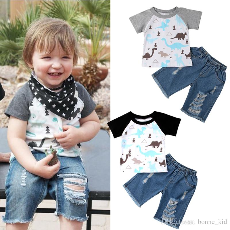 Baby Boys Brother Oufits Dinosaur T-shirt+ Jeans 2PCS set Summer Kids Sportswear Black Gray Brother Twins Wear Kids Boy Boutique Clothes