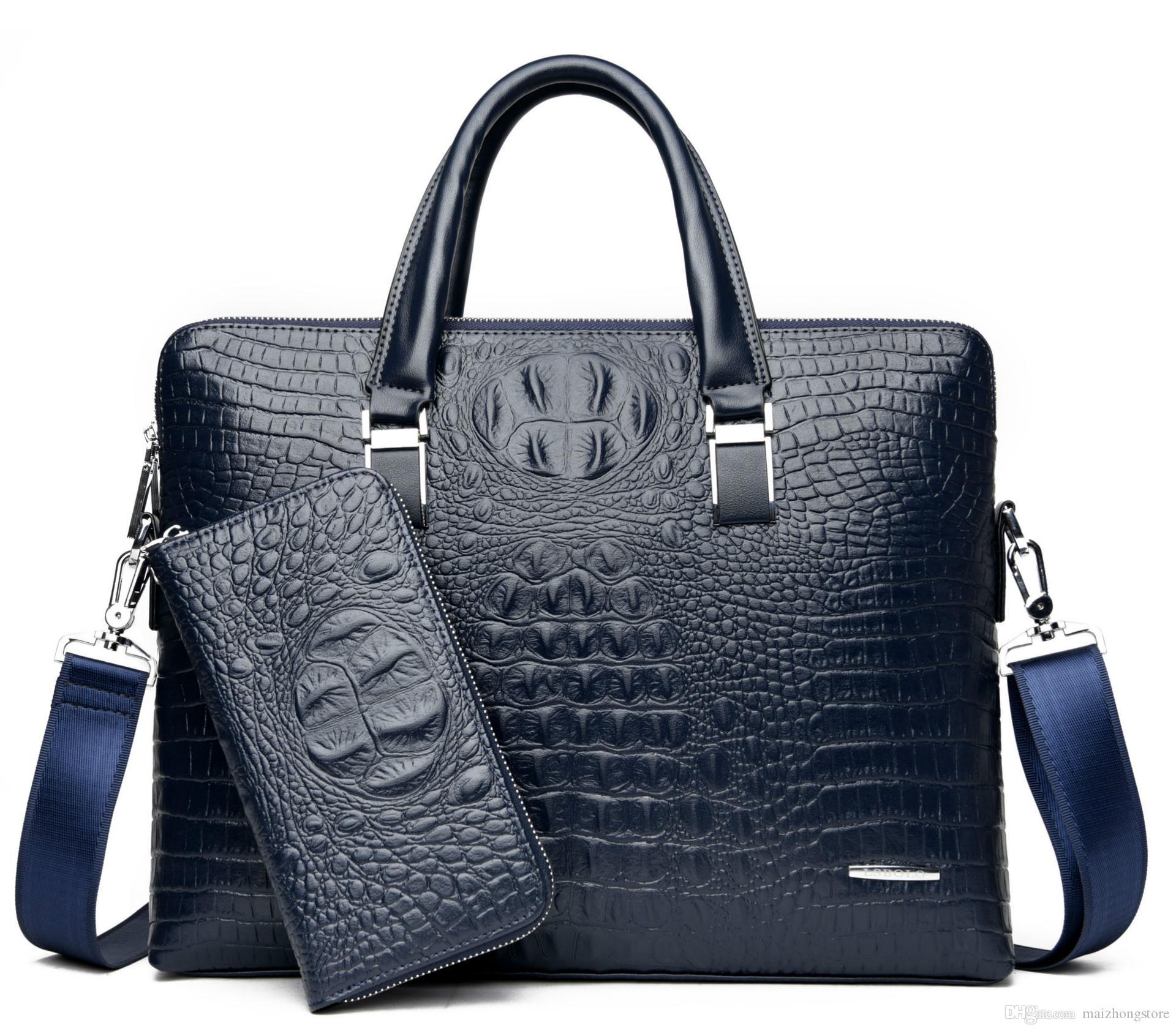 Crocodile designer handtasche für 2021 luxus laptoptasche business männer Hohe qualität ein pu zwei leder kaufen männer bekommen Aktentaschen senden Free Pur KKLV