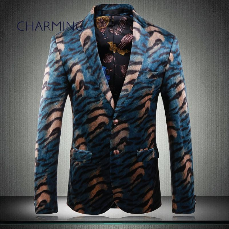 suit menswear, gentleman suit jacket, luxurious velvet tiger pattern fabric, for singers, fashion party prom wedding dress