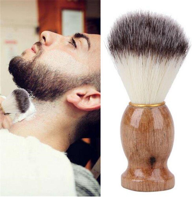 Los hombres de brocha de afeitar del peluquero Salón de los hombres facial Barba limpieza Appliance Shave herramienta Cuchilla del cepillo con mango de madera para los hombres