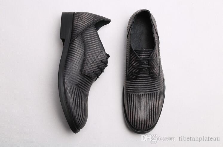 Ręcznie robione buty Mężczyźni Lace Up Prawdziwej Skóry Stripe Dress Buty Smart Casual Lato Klasyczne Czarne Mieszkania Mokasyny Nowa Moda