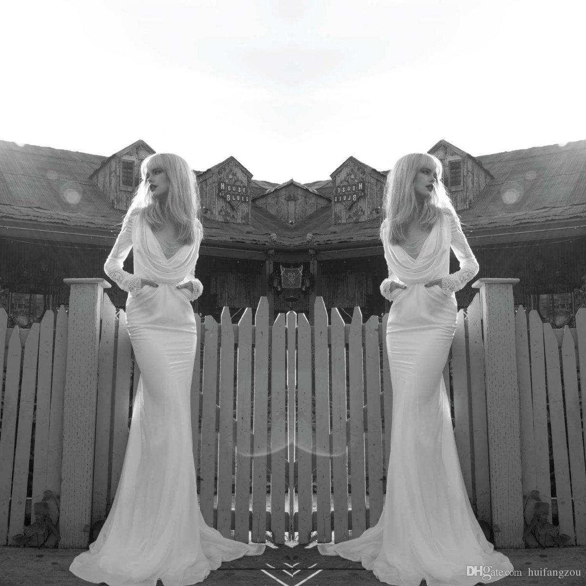 Inbal Dror Elegant Satin Brautkleid Sexy V-Ausschnitt Spitze Langarm Sweep Zug Brautkleider nach Maß Designer Brautkleider