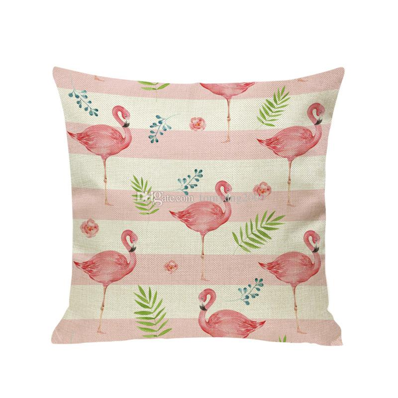 2018 la venta caliente funda de almohada Flamenco estilo de dibujos animados colorido de los pájaros de la hoja de almohada cubierta Amortiguador lindo Impresión animal de la cubierta del regalo de los niños