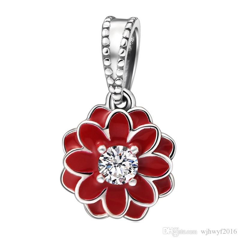 Sterling Silver /& Enamel Flower Charm