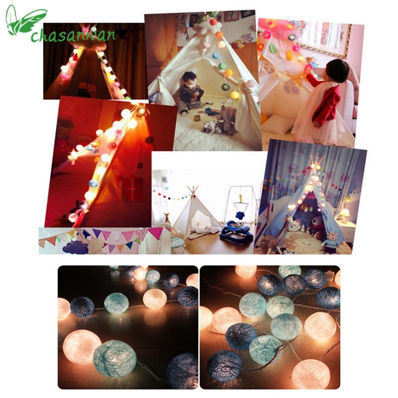 تصميم جديد 3M 20 بقيادة تيفاني القطن الكرة ضوء سلسلة عيد الميلاد بقيادة زينة للمنازل السنة الجديدة الديكور ملون ديكور