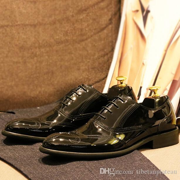 Włoski Bull Bullock Carved Oxford Buty Brytyjski Styl Męska Suknia Ślubna Buty Formalne Biznes Jasne Skórzane Buty Oxford 44