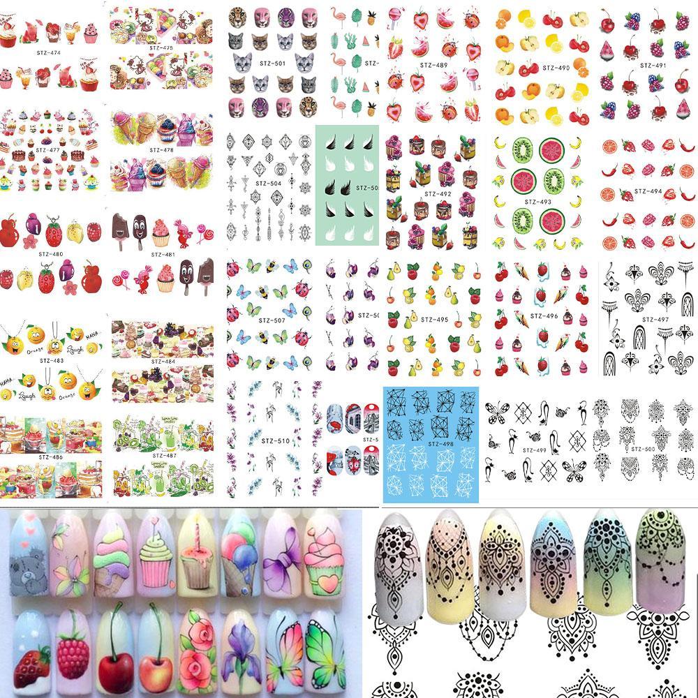 58Sheets Fruit / Collier Bijoux Paern Nail Stickers Nail Art Autocollants de transfert d'eau Mixte Conseils à ongles Décalcomanies Bestz455-512