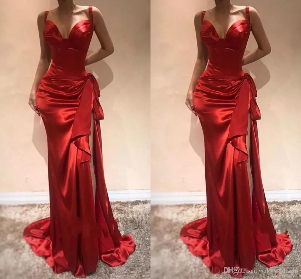 Großhandel Elegante Rote Lange Abendkleider 12 Schatz Nixe Formales  Abschlussball Kleid Mit Schlitz Sweep Zug Reißverschluss Side Split  Abendkleider