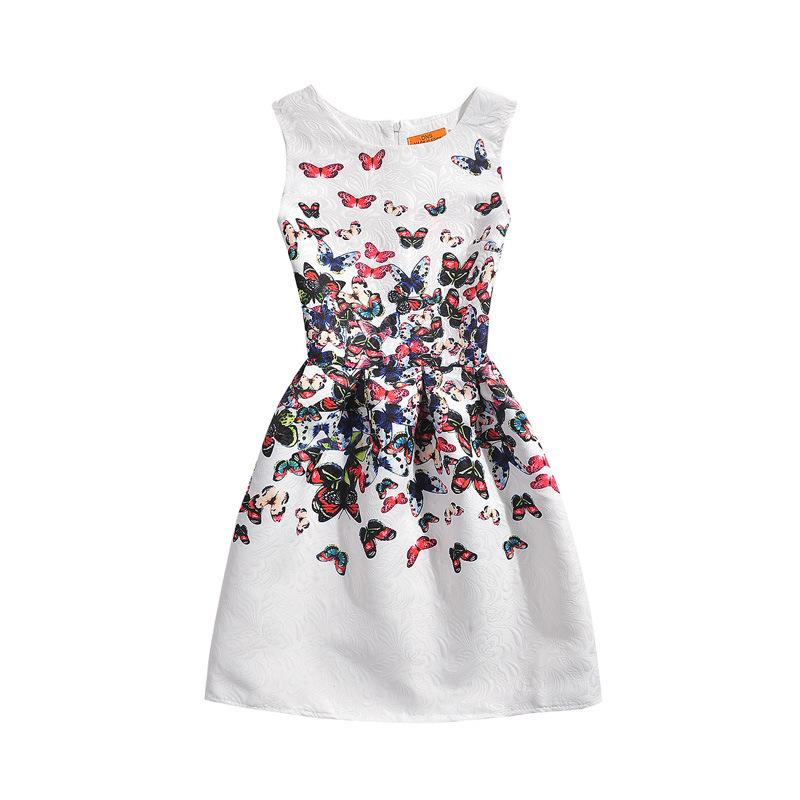 Baby Kid Girl Clothes Sleeveless Butterfly Print Princess Party Pageant Dresses