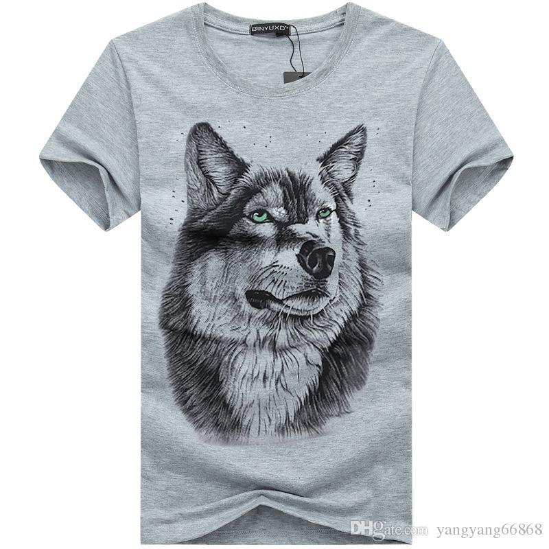 Homens de Verão Personalizado DOG / Coruja / Lobo / Projeto do Gato T Camisa Dos Homens Aquarela Animal Gráficos Impresso Tops Hipster Camisetas Tamanho 5XL