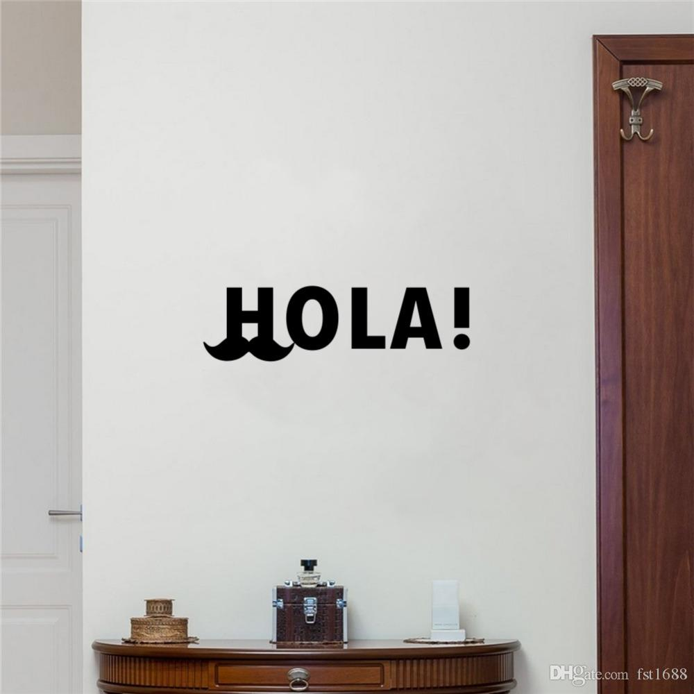 Spanish Hola Funny Mustache Vinyl Art Decals Quote Hello Wall Stickers Living Room Bedroom Windows Home Decoration Wall Stickers For Kids Rooms Wall