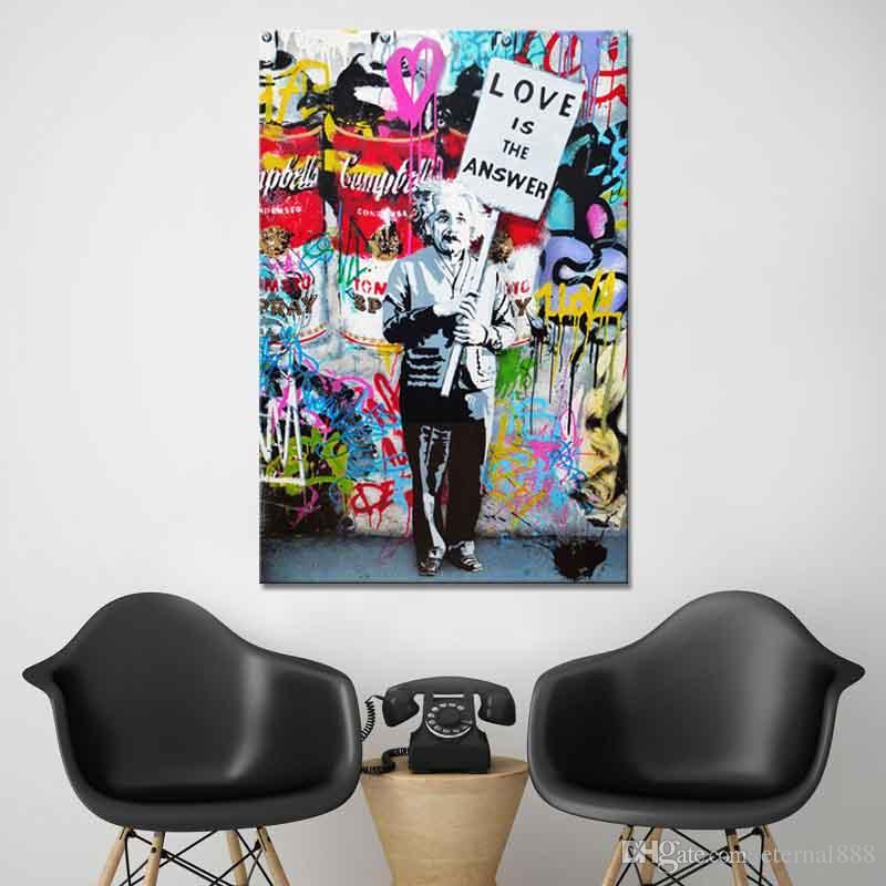 Banksy Art - grafiti sanat einstein aşk Modern Tuval Yağlıboya HD Baskı Duvar Sanatı Dekor Oturma Odası Ev Dekorasyon için Çerçeveli / Çerçevesiz