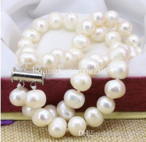 Natural 2rows white 8-9mm Akoya Perle coltivate perline bracciali da 7.5 pollici