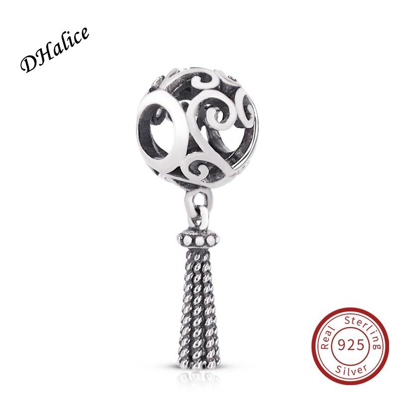 Enchanted Heart Tassel Pendant Charm Authentic 925 Sterling Silver Clear CZ Beads Fits Snake Bracelets DIY Fine Jewelry 797037 Charm