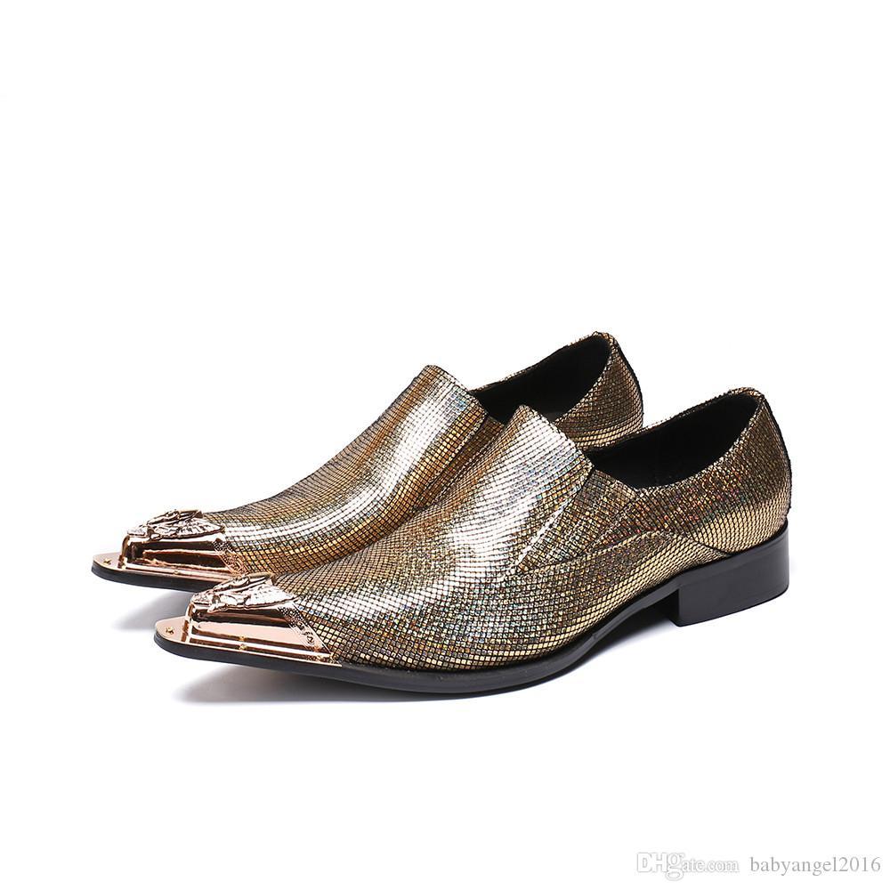 Luxus-britische Art GoldPaillette echten Leder-Mann-Schuh-spitze Zehe-Männer kleiden Schuhe Partei Oxford-Schuhe