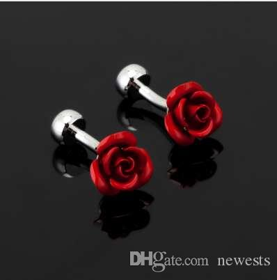 newest Luxury Fashion red rose Cufflink For Mens&Women High Quality Vintage Antique France Shirt Cuff Links For Men Jewelry