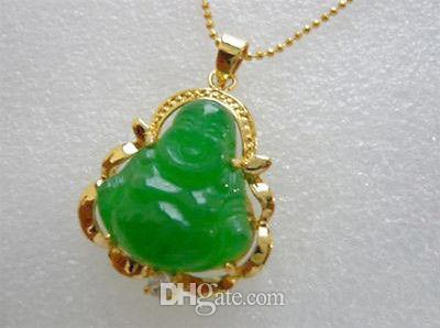Wholesale Emerald Green Jade Buddha Yellow Gold Plated Crystal Pendant & Necklace