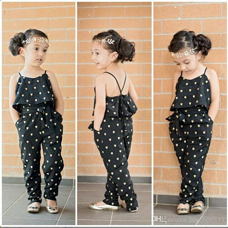 Lovely Girls Casual Sling Clothing Sets Romper BabyHeart Shaped Jumpsuit Cargo Pants Bodysuits Kids Clothing Sets Outfit