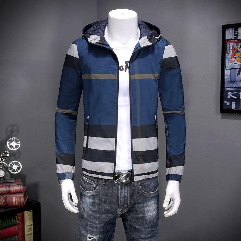 2018 года мужские куртки весной и осенью прилив мужской тонкий пиджак плед с капюшоном корейский Тонкий молния рубашку куртка прилива