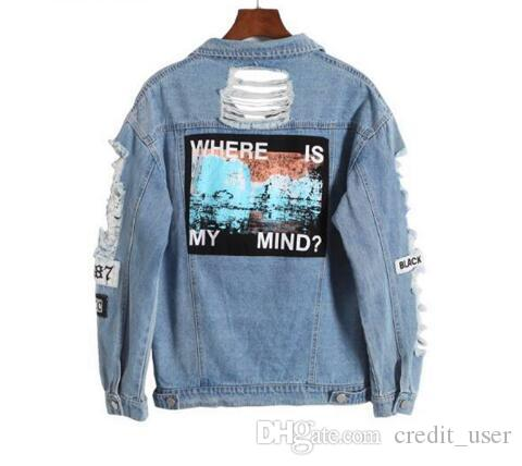 Hot Sale Light Blue Letter Patch Ripped Pockets Single Breasted Denim Coat Women Casual Summer Jacket Wear