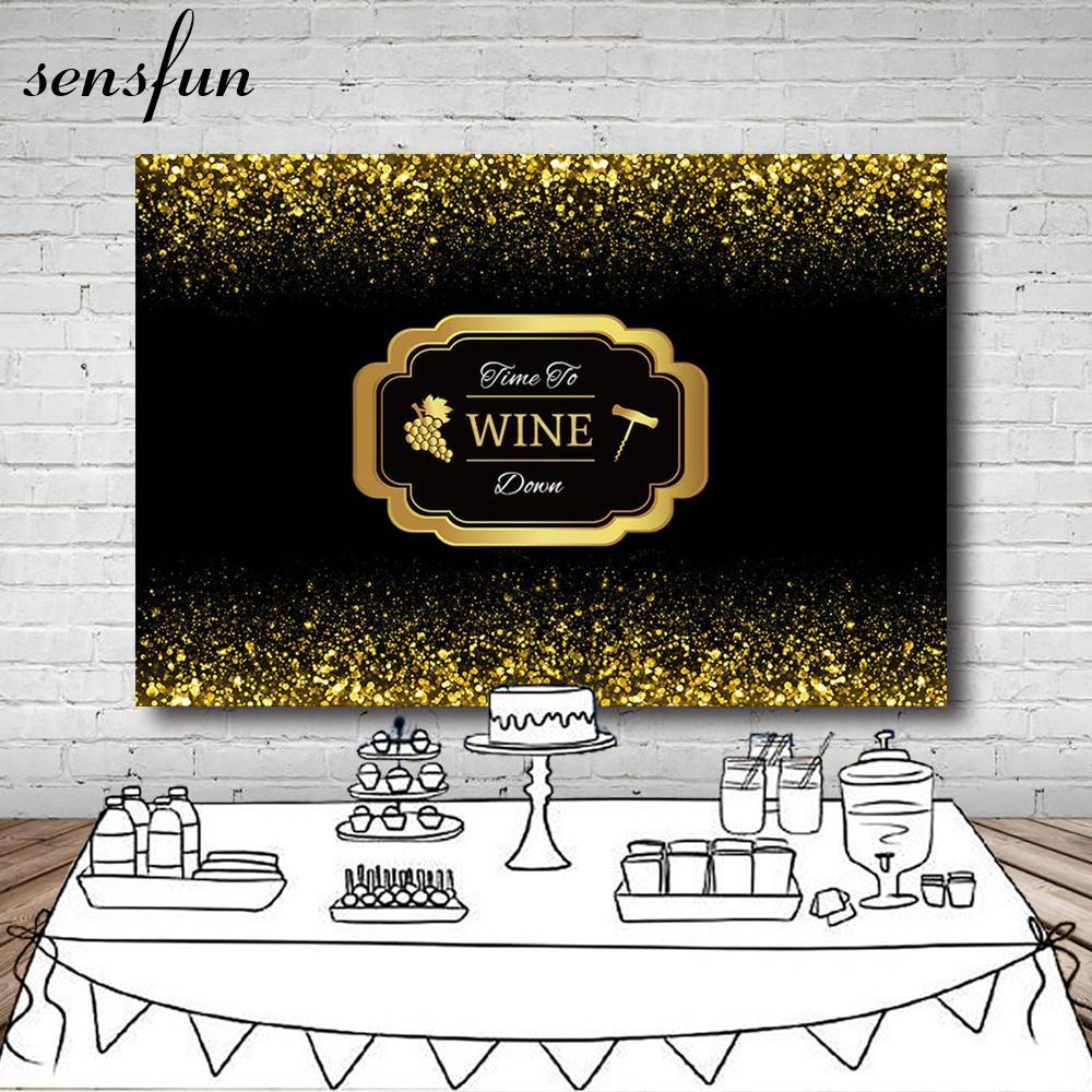 الجملة الوقت إلى النبيذ أسفل حزب خلفية الذهب الأسود بريق حفلة عيد احتفال الجدول الحلوى خلفيات 7x5FT الفينيل
