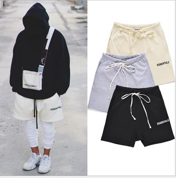 Hommes High Street taille élastique Shorts Pantalons Femmes Hip Hop Essentials Pantalons d'impression Lovers Cutton Solid Color Pantalons simple