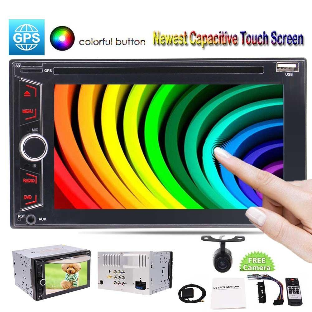 "Ses Çift Din 6.2 ""Araba DVD Oynatıcı Çok noktalı Bluetooth Navigasyon / GPS / DVD / CD / MP3 / USB / fm / am Radyo Alıcısı Dash Stereo Kamera"