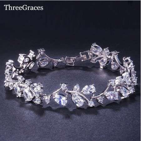 ThreeGraces رومانسية تشيكوسلوفاكيا مجوهرات ورقة وزهرة زركون أساور الزفاف هدية ل وصيفه الشرف BR031