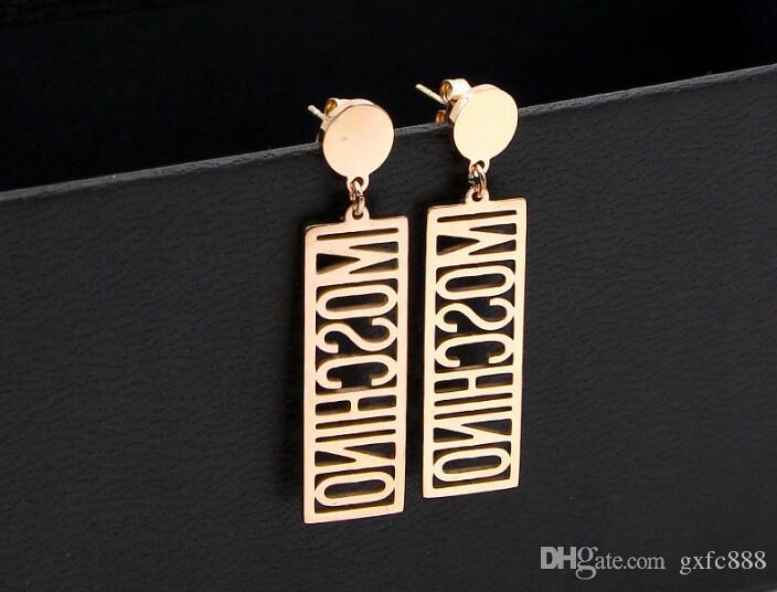 Informazioni cava inglese alfabeto rettangolare ciondolo in acciaio al titanio placcato oro rosa orecchini marea femminile orecchini in oro colore selvatico
