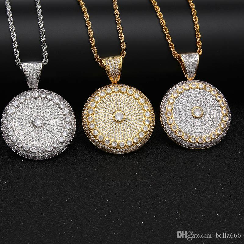 Unisex Hiphop Gold Plated Round Pendant Necklace Paved Micro Cubic Zirconia Sun Flower Necklaces With Chian Rapper Jewelry