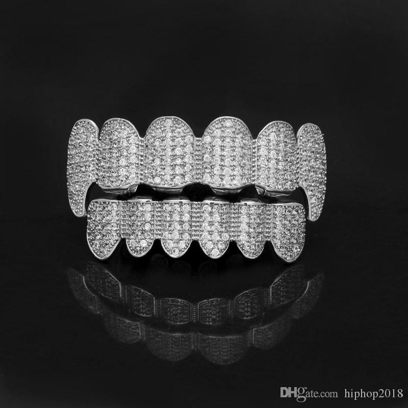 الذهب اللامعة مثلج خارج الأسنان جريلز حجر الراين توبوتوم الشوايات مجموعة الهيب هوب المجوهرات