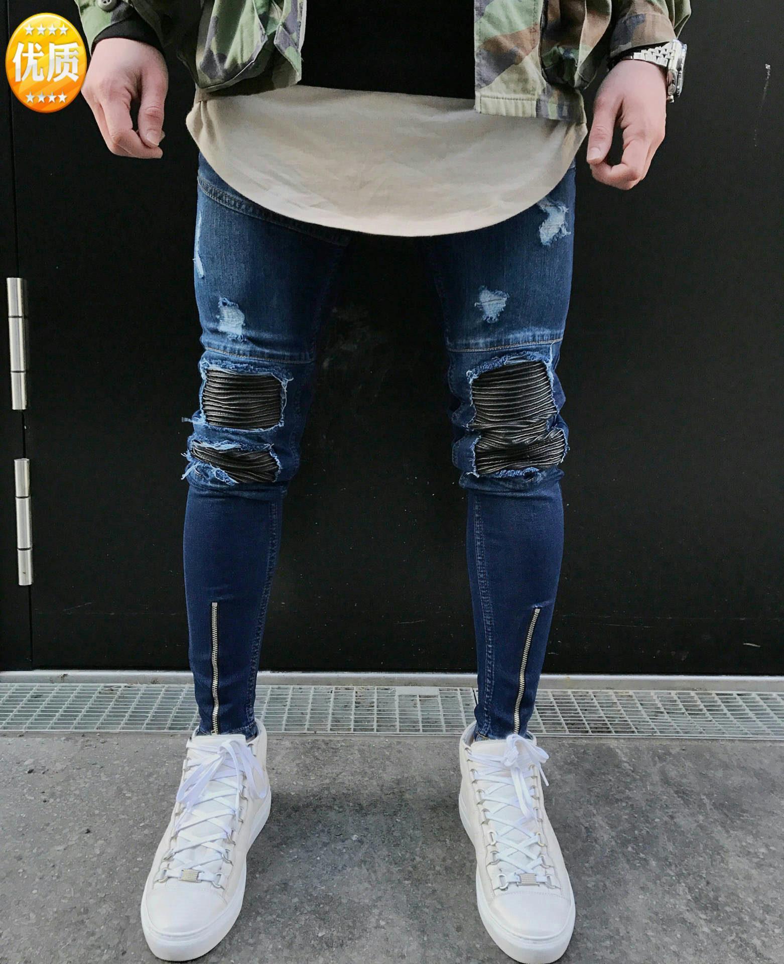 Famoso diseñador de marca Slim Fit Ripped Jeans Hombre para hombre Denim apenado Joggers Agujeros de la rodilla Jeans destruidos lavados